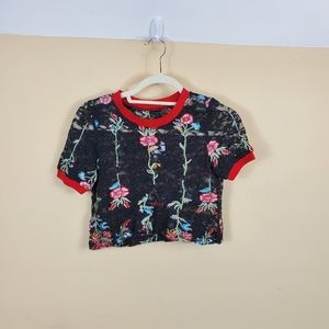 (LF) Elli White Lace and Embroidered Crop Top